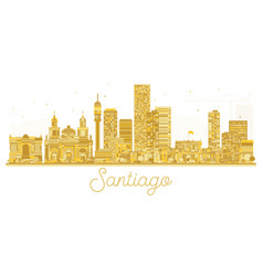 santiago chile city skyline golden silhouette vector image