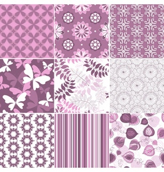 Seamless pastel pink-white patterns vector