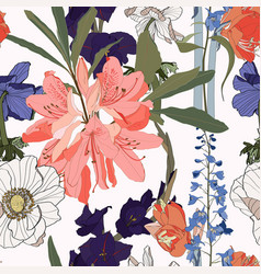 seamless patterns with rhododendron oleander vector image