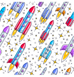 seamless space background with rockets and stars vector image