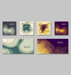 set 6 backgrounds with colorful paper cut vector image