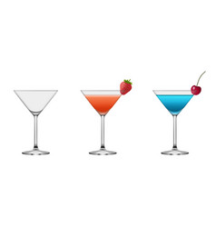 set empty and full cocktail glasses vector image