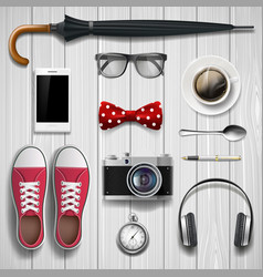 set of items and accessories for the student and vector image