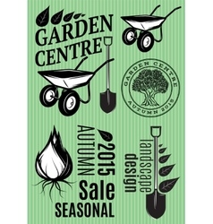 Set of patterns in retro style for the garden vector image