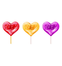set of romantic lollipops in the shape of a heart vector image vector image