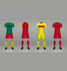 Set realistic football kits vector