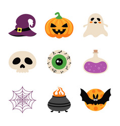 set with cartoon halloween elements isolated vector image