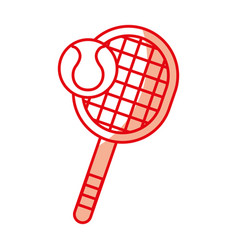 shadow tennis racket and ball cartoon vector image