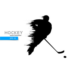 Silhouette of a hockey player vector