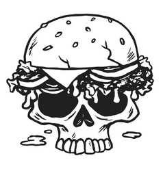skull burger fries vector image