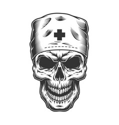 Skull in doctor mask vector