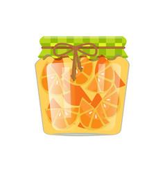 Sliced orange citrus fruit in small glass jar vector