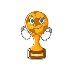 Smirking soccer trophy with mascot shape vector