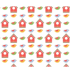 Spring birds seamless pattern vector image