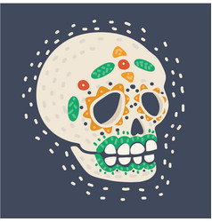 sugar skull with heart and flower ornament vector image
