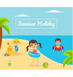 Summer holliday banner template with cute kids vector