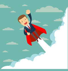 super businessman in red capes flying upwards to vector image
