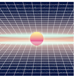 synthwave retro futuristic landscape with sun and vector image