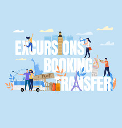 Tiny people on excursion booking transfer text vector