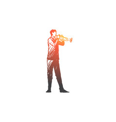 Trumpet musician man music concert vector