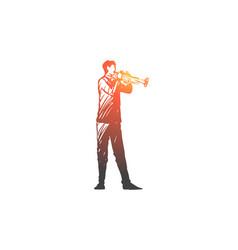 trumpet musician man music concert vector image