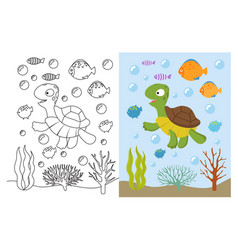 turtle coloring pages cartoon swimming sea vector image