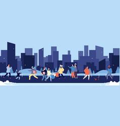 winter walking happy people walking in downtown vector image