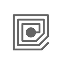 wireless chip and rfid line icon vector image