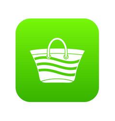 women beach bag icon digital green vector image