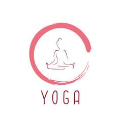 yoga logo with zen icon design vector image vector image