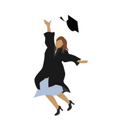 young graduate student girl in graduation gown vector image