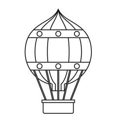hot air balloon with gondola basket icon vector image vector image