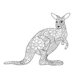 Kangaroo coloring book for adults vector