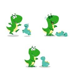 Little funny dinosaurs vector