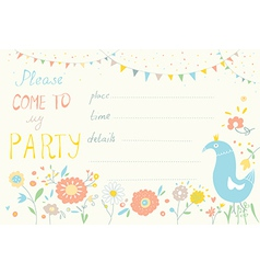 Party invitation with flower and bird cute design vector image