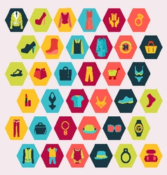 Shopping and Fashion related icons vector image vector image