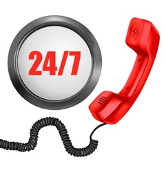 Telephone and 247 button 24 hours in day 7 days in vector image