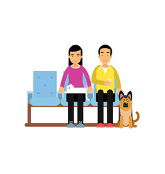 young man and woman sitting in waiting hall with vector image
