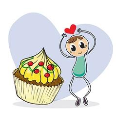 A girl beside a big cupcake vector image vector image