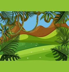 Background scene with green field and mountain vector