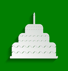cake with candle sign paper whitish icon vector image vector image