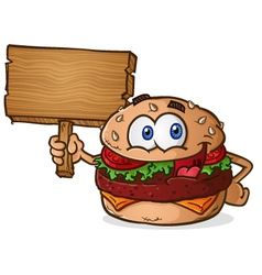 Cheeseburger Cartoon Character Holding a Sign vector image vector image