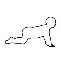 crawling baby black color icon vector image vector image