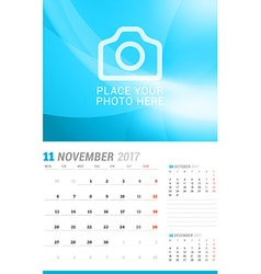 November 2017 Wall Monthly Calendar for 2017 Year vector image vector image