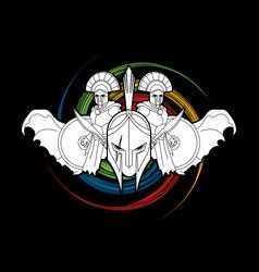roman or greek helmet spartan warriors vector image