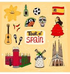 Tour of Spain hand-drawn vector image vector image