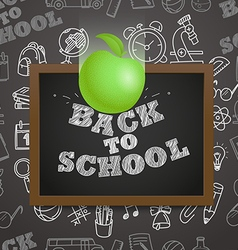 Back to school concept Falling apple to the vector image