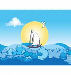 ocean ship and clouds vector image