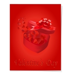 Open gift box with a bow on a red background vector image