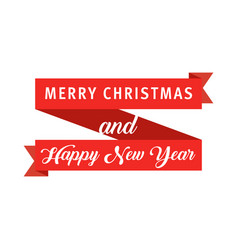 red banner ribbon merry christmas and happy new vector image vector image